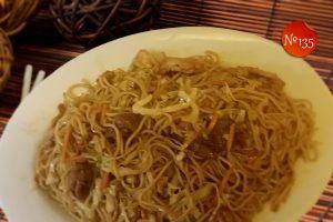 Пържени спагети с три вида месо