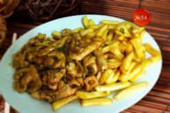 Пилешко с пържени картофи